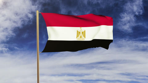 Egypt flag waving in the wind. Green screen, alpha matte.... Stock Video Footage