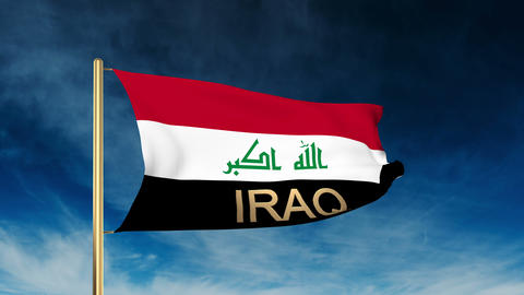 Iraq flag slider style with title. Waving in the wind with cloud background anim Animation