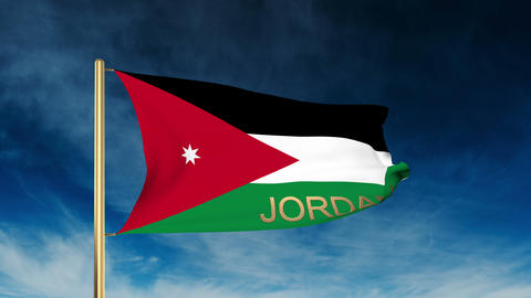 Jordan flag slider style with title. Waving in the wind with cloud background an Animation