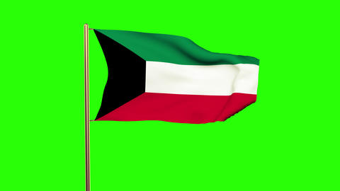 Kuwait flag waving in the wind. Green screen, alpha matte. Loopable animation Animation
