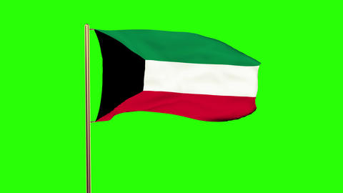 Kuwait flag waving in the wind. Green screen, alpha... Stock Video Footage
