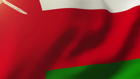 Oman flag waving in the wind. Looping sun rises style. Animation loop Animation