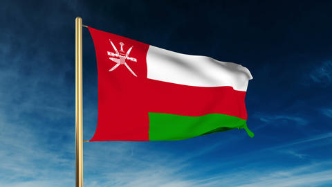 Oman flag slider style. Waving in the win with cloud... Stock Video Footage