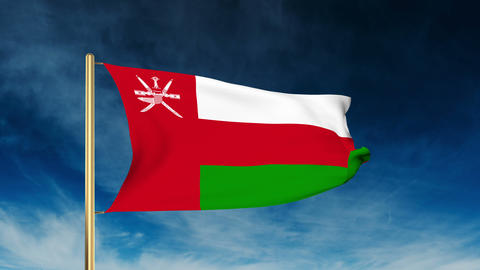 Oman flag slider style. Waving in the win with cloud background animation Animation