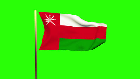 Oman flag waving in the wind. Green screen, alpha matte. Loopable animation Animation