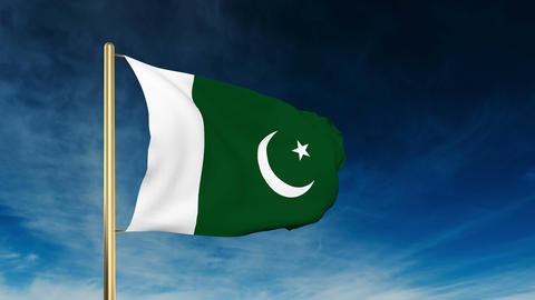 Pakistan flag slider style. Waving in the win with cloud... Stock Video Footage