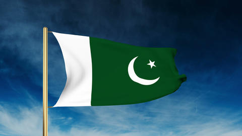Pakistan flag slider style. Waving in the win with cloud background animation Animation