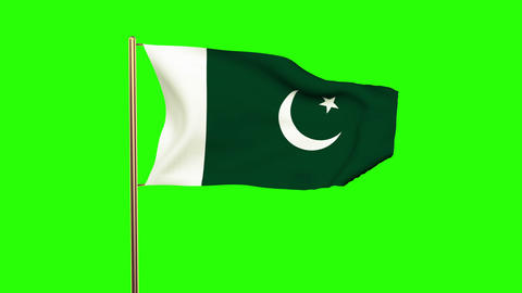 Pakistan flag waving in the wind. Green screen, alpha matte. Loopable animation Animation