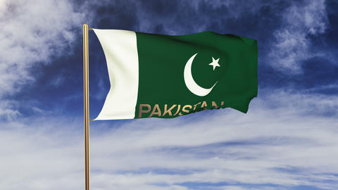 Pakistan flag with title waving in the wind. Looping sun... Stock Video Footage