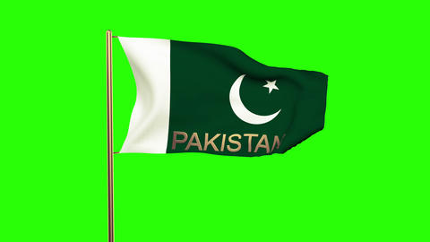 Pakistan flag with title waving in the wind. Looping sun rises style. Animation  Animation