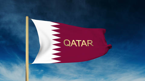 Qatar flag slider style with title. Waving in the wind with cloud background ani Animation