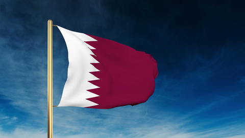 Qatar flag slider style. Waving in the win with cloud... Stock Video Footage