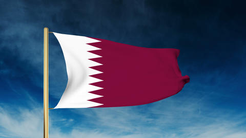 Qatar flag slider style. Waving in the win with cloud background animation Animation