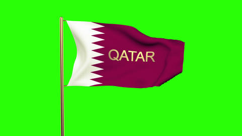 Qatar flag with title waving in the wind. Looping sun rises style. Animation loo Animation