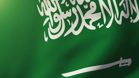 Saudi Arabia flag waving in the wind. Looping sun rises... Stock Video Footage