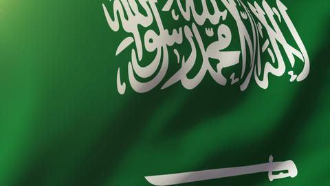 Saudi Arabia flag waving in the wind. Looping sun rises style. Animation loop Animation