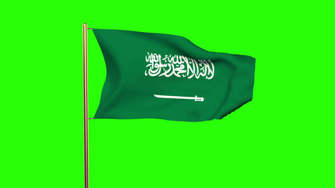 Saudi Arabia flag waving in the wind. Green screen, alpha... Stock Video Footage