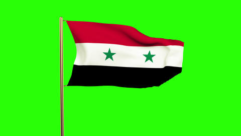 Syria flag waving in the wind. Green screen, alpha matte. Loopable animation Animation