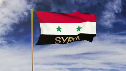 Syria flag with title waving in the wind. Looping sun... Stock Video Footage