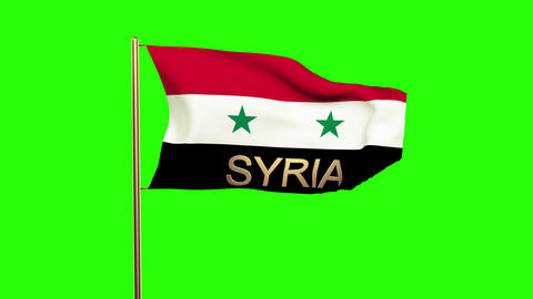 Syria flag with title waving in the wind. Looping sun rises style. Animation loo Animation