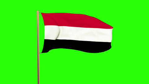 Yemen flag waving in the wind. Green screen, alpha matte.... Stock Video Footage
