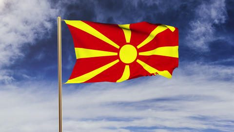 Macedonia flag waving in the wind. Looping sun rises... Stock Video Footage
