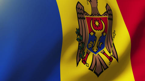 Moldova flag waving in the wind. Looping sun rises style. Animation loop Animation