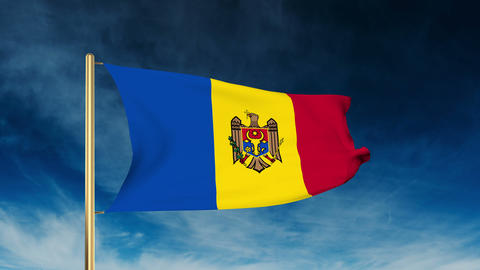 Moldova flag slider style. Waving in the wind with cloud background animation Animation