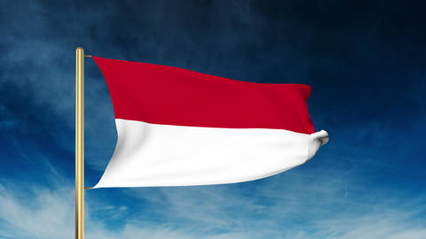 Monaco flag slider style. Waving in the wind with cloud background animation Animation