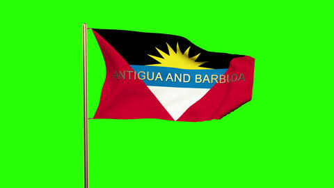 Antigua And Barbuda flag with title waving in the wind. Looping sun rises style. Animation