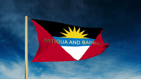 Antigua And Barbuda flag slider style with title. Waving in the wind with cloud  Animation