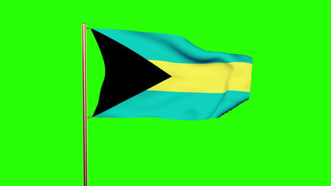 Bahamas flag waving in the wind. Green screen, alpha matte. Loopable animation Animation