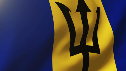 Barbados flag waving in the wind. Looping sun rises style. Animation loop Animation