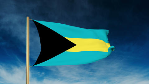Bahamas flag slider style. Waving in the win with cloud background animation Animation