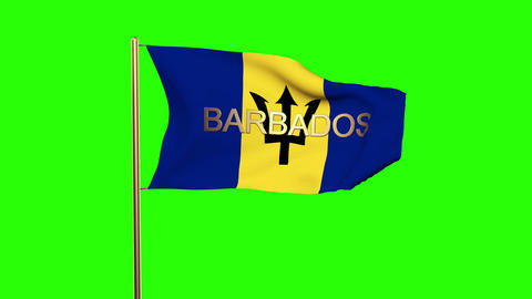 Barbados flag with title waving in the wind. Looping sun rises style. Animation  Animation