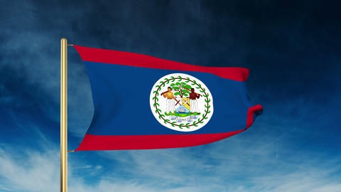 Belize flag slider style. Waving in the win with cloud background animation CG動画