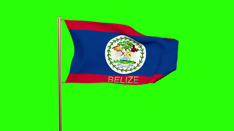 Belize flag with title waving in the wind. Looping sun rises style. Animation lo Animation