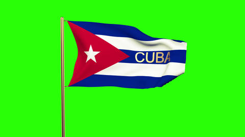 Cuba flag with title waving in the wind. Looping sun rises style. Animation loop Animation