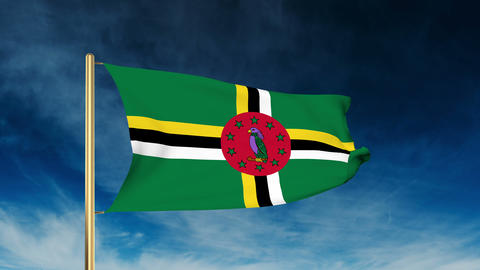 Dominica flag slider style. Waving in the win with cloud background animation Animation