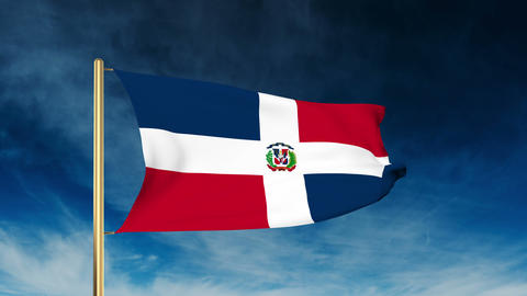 Dominican Republic flag slider style. Waving in the win with cloud background an Animation