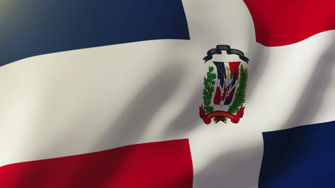 Dominican Republic flag waving in the wind. Looping sun rises style. Animation l Animation