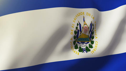 El Salvador flag waving in the wind. Looping sun rises style. Animation loop Animation