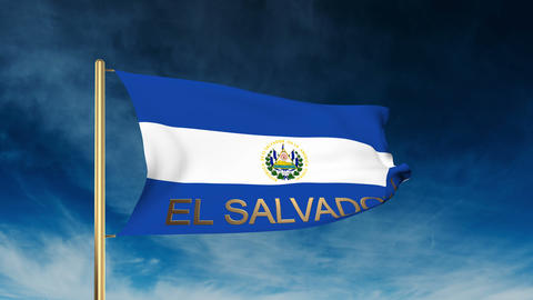 El Salvador flag slider style with title. Waving in the wind with cloud backgrou Animation