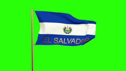 El Salvador flag with title waving in the wind. Looping sun rises style. Animati Animation