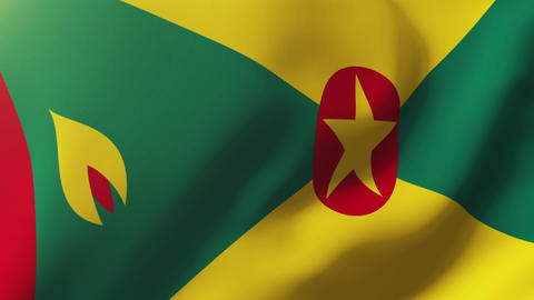 Grenada flag waving in the wind. Looping sun rises style. Animation loop Animation