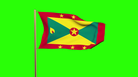 Grenada flag waving in the wind. Green screen, alpha matte. Loopable animation Animation
