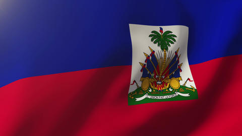 Haiti flag waving in the wind. Looping sun rises style. Animation loop Animation