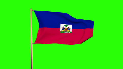 Haiti flag waving in the wind. Green screen, alpha matte. Loopable animation Animation