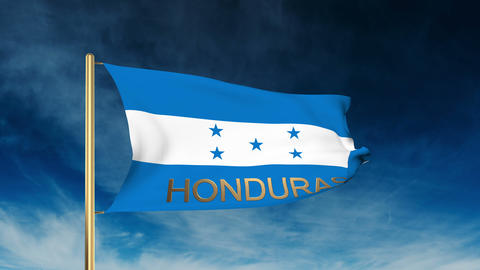 Honduras flag slider style with title. Waving in the wind with cloud background  Animation