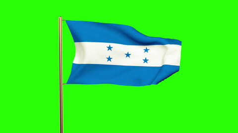 Honduras flag waving in the wind. Green screen, alpha matte. Loopable animation Animation